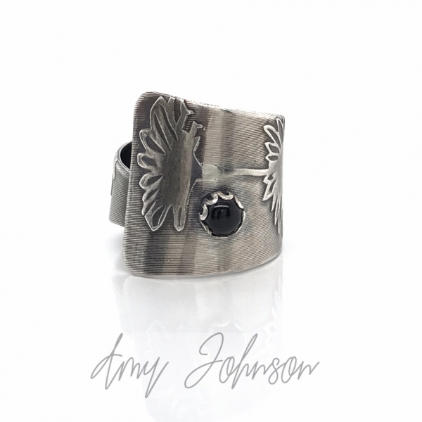 Adjustable Daisy Ring with Black Onyx