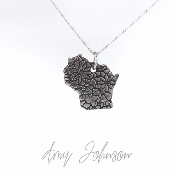 Wisconsin Floral Sterling Silver Necklace