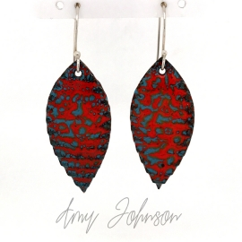 Red Pointed Oval Earrings