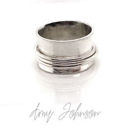 Three Spinners Sterling Silver Ring