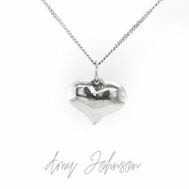 Sterling Silver Polished Puff Heart Necklace