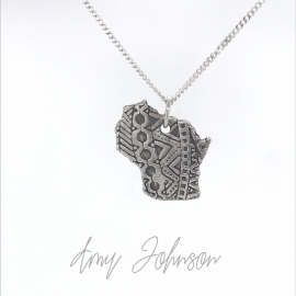 Wisconsin Geometric Sterling Silver Necklace