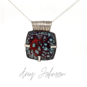 Red with Aqua  Sprinkles Necklace