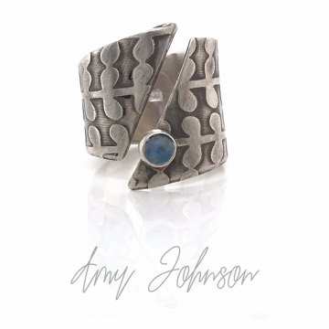 Open Front Wrap Ring with Blue Aventurine