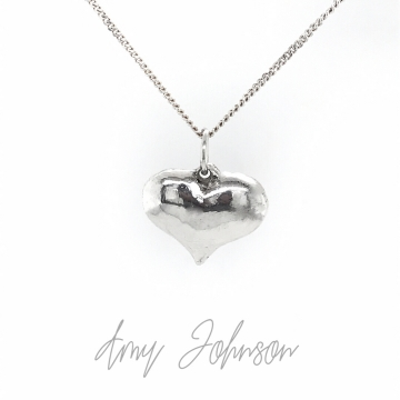 Sterling Silver Polished Puff Love Heart Necklace
