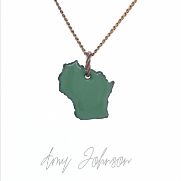 Choose Your Color Mini Wisconsin State Necklace