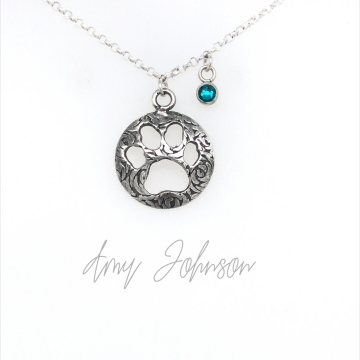 Paw Print Necklace with Birthstone